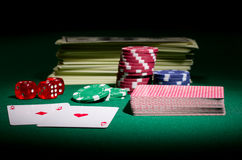 Dollars dices cards and chips Stock Images