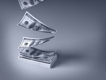 Dollars die neer vallen Stock Fotografie