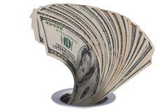 Dollars die onderaan afvoerkanaal gaan Royalty-vrije Stock Afbeeldingen