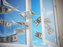 Dollars die uit het venster vliegen 3D Illustratie Royalty-vrije Stock Foto