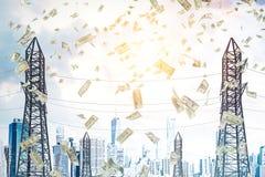 Dollars die van hemel, de steunen van de machtslijn vallen Royalty-vrije Illustratie