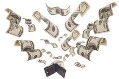 Dollars die vanaf geïsoleerde portefeuille in werking worden gesteld Royalty-vrije Stock Foto