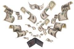 Dollars die vanaf geïsoleerdet portefeuille in werking worden gesteld Royalty-vrije Stock Fotografie