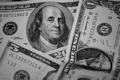 Dollars. Different types of dollar of the usa Royalty Free Stock Photos