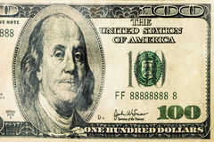 100 Dollars Dollar Banknote Bill Closeup ISolated. Close up shot of aged 100 dollars bill banknote isolated white Royalty Free Stock Photography