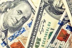 Dollars, 100 dollar, dollars de V.S., financiële bankbiljetten, geld, F Stock Afbeelding