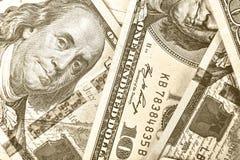 Dollars, 100 dollar, dollars de V.S., financiële bankbiljetten, geld, F Royalty-vrije Stock Afbeeldingen