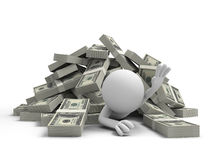 Dollars. Dollar,a person groveling under bundles of dollars Royalty Free Stock Photo
