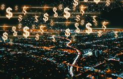 Dollars with Downtown Los Angeles Royalty Free Stock Images