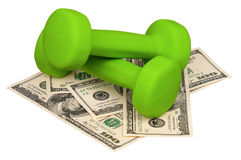 Dollars and dumbbells Stock Images