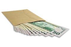 Dollars in een envelop Stock Foto