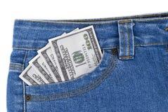 Dollars in een zak Royalty-vrije Stock Afbeelding