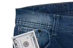 Dollars in een zak van jeans Stock Afbeeldingen
