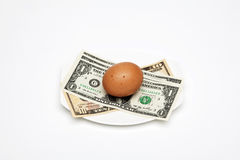 Dollars egg on plate Stock Images