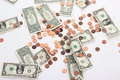 Dollars en Centen Stock Afbeelding