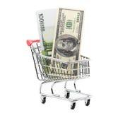 Dollars en euro contant geld in het winkelen karretje Royalty-vrije Stock Fotografie
