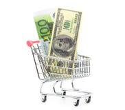 Dollars en euro contant geld in het winkelen karretje Stock Afbeelding