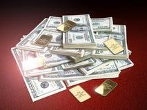 Dollars en goud Stock Afbeeldingen
