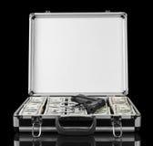 Dollars en kanon voor het geval dat geïsoleerd op een zwarte Royalty-vrije Stock Afbeeldingen