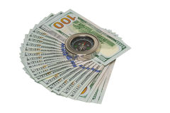Dollars en kompas Royalty-vrije Stock Afbeelding