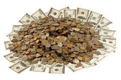 Dollars en Russisch geld. Royalty-vrije Stock Afbeelding