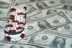 Dollars en spaanders stock fotografie