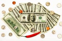 Dollars en Spaanse peper Royalty-vrije Stock Foto's