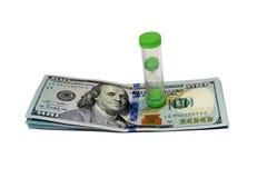 Dollars en zandloper Royalty-vrije Stock Afbeelding