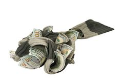 Dollars entangled in a soft scarf on a white background stock images