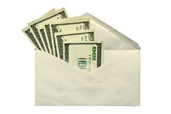 Dollars in envelope. Dollars in an envelope-concept of a bribe and illegal compensation Royalty Free Stock Photos