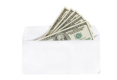 Dollars in an envelope. Bunch of one-hundred dollar bills in an envelope (isolated on white Royalty Free Stock Photo