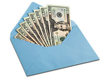 Dollars in an envelope. A lot of dollars in the blue envelope Royalty Free Stock Images