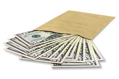 Dollars in an envelope Stock Photos