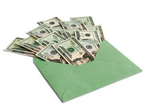Dollars in an envelope Stock Images