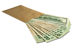 Dollars in an envelope Royalty Free Stock Photography
