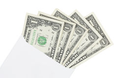 Dollars in envelope on white background Royalty Free Stock Image