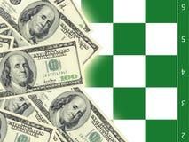 Dollars et échecs Images stock