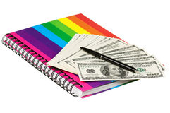 Dollars et livre d'exercice Image stock