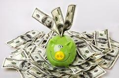 Dollars et tirelire Image libre de droits