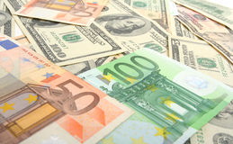 Dollars and euro. As  background Royalty Free Stock Photo