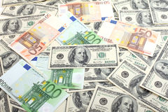Dollars and euro background Stock Images