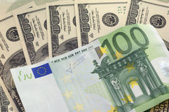 Dollars and euro for a background. Dollars and euro for a background Stock Images