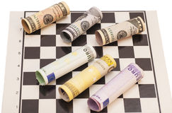 Dollars and Euro banknotes Stock Image
