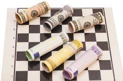 Dollars and Euro banknotes Stock Image