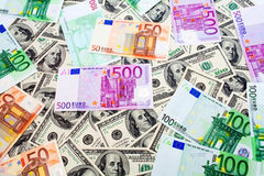Dollars and Euro Royalty Free Stock Photo
