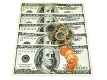 Dollars and euro coins Stock Image