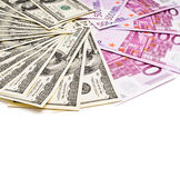 Dollars and euro currency fan Stock Images