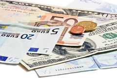 Dollars euro and czech money Royalty Free Stock Photo
