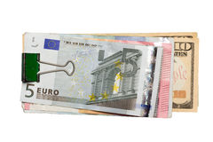 Dollars and euro isolated on white background Stock Photo