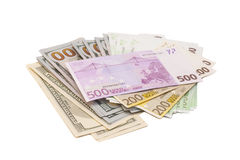 Dollars and euro money Stock Image